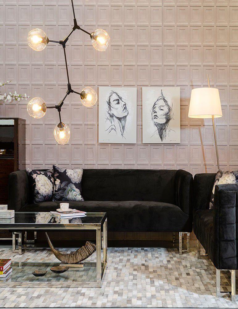 Salones modernos con este sof 3 plazas estilo moderno madera acero color negro - Salones con sofa negro ...
