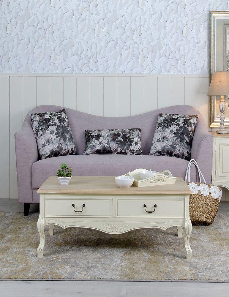 Mueble mesa centro estilo shabby chic color crema dm - Estilo shabby chic muebles ...