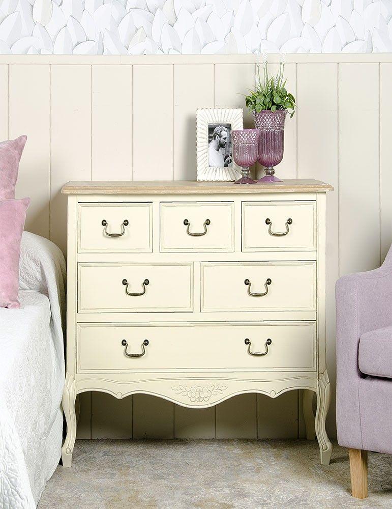 Mueble aparador estilo shabby chic color crema 6 caj nes for Mueble 70 x 40