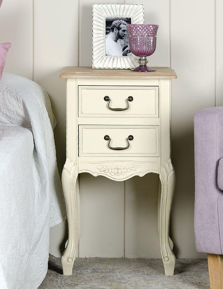 Mueble mesita noche estilo shabby chic color crema 2 for Mesitas de noche 30 cm