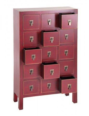 Mueble auxiliar estilo oriental color rojo acre 15 cajones - Mueble salon rojo ...