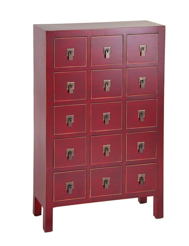 Mueble auxiliar estilo oriental color rojo lacre 15 - Muebles de estilo oriental ...