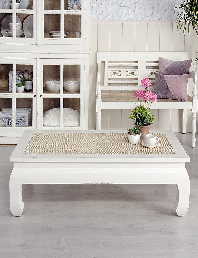 Mueble mesa centro estilo shabby chic color blanco rozado for Mueble recibidor 70 cm