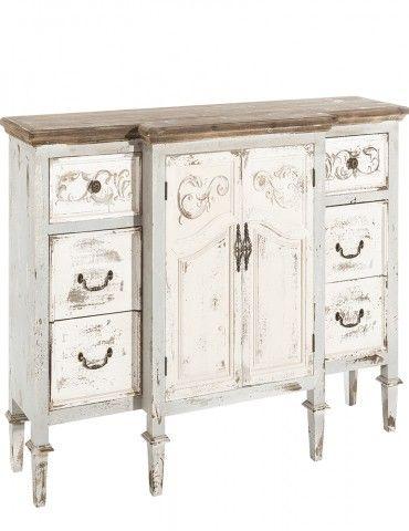 Mueble recibidor entrada 2 puertas 6 cajones estilo vintage blanco gris - Mueble entrada vintage ...